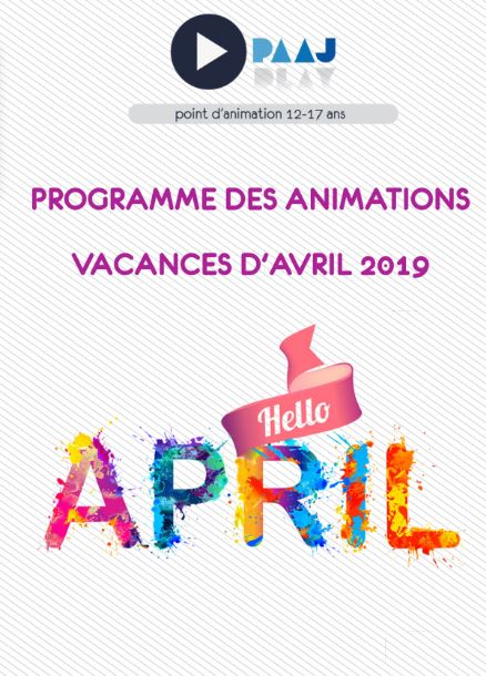 PAAJ – programme des vacances de printemps 2019