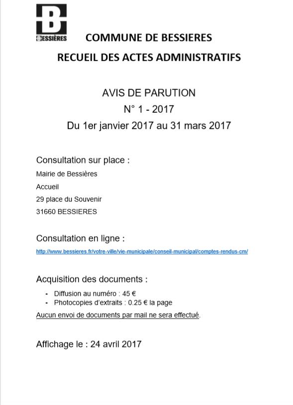 Avis parution RAA 1er trim 2017