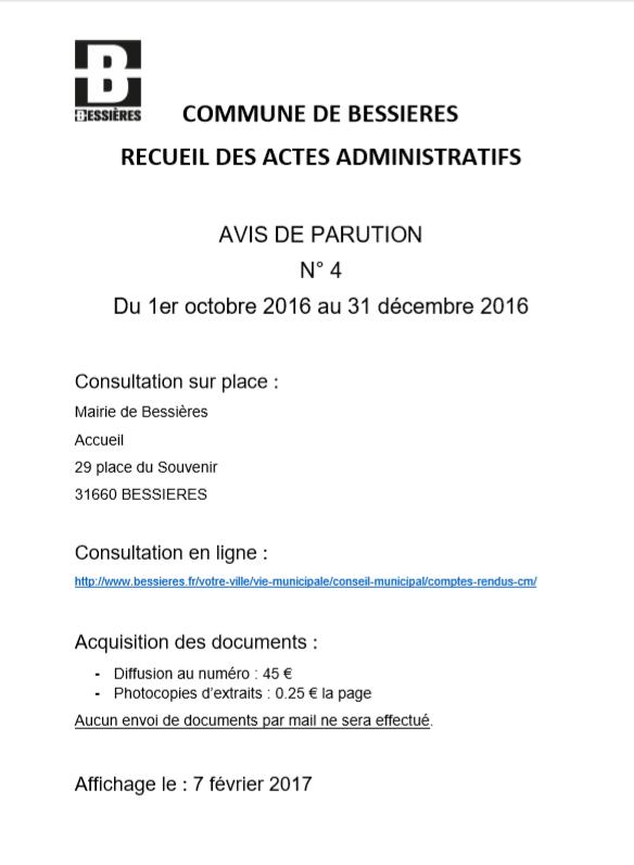 Avis parution RAA 4ème trim 2016