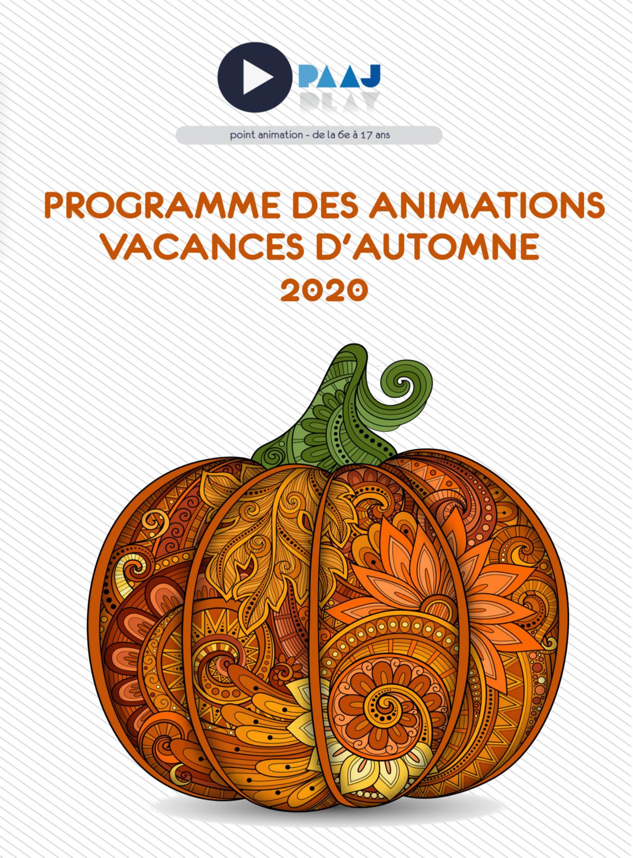 PAAJ – programme des vacances d'automne