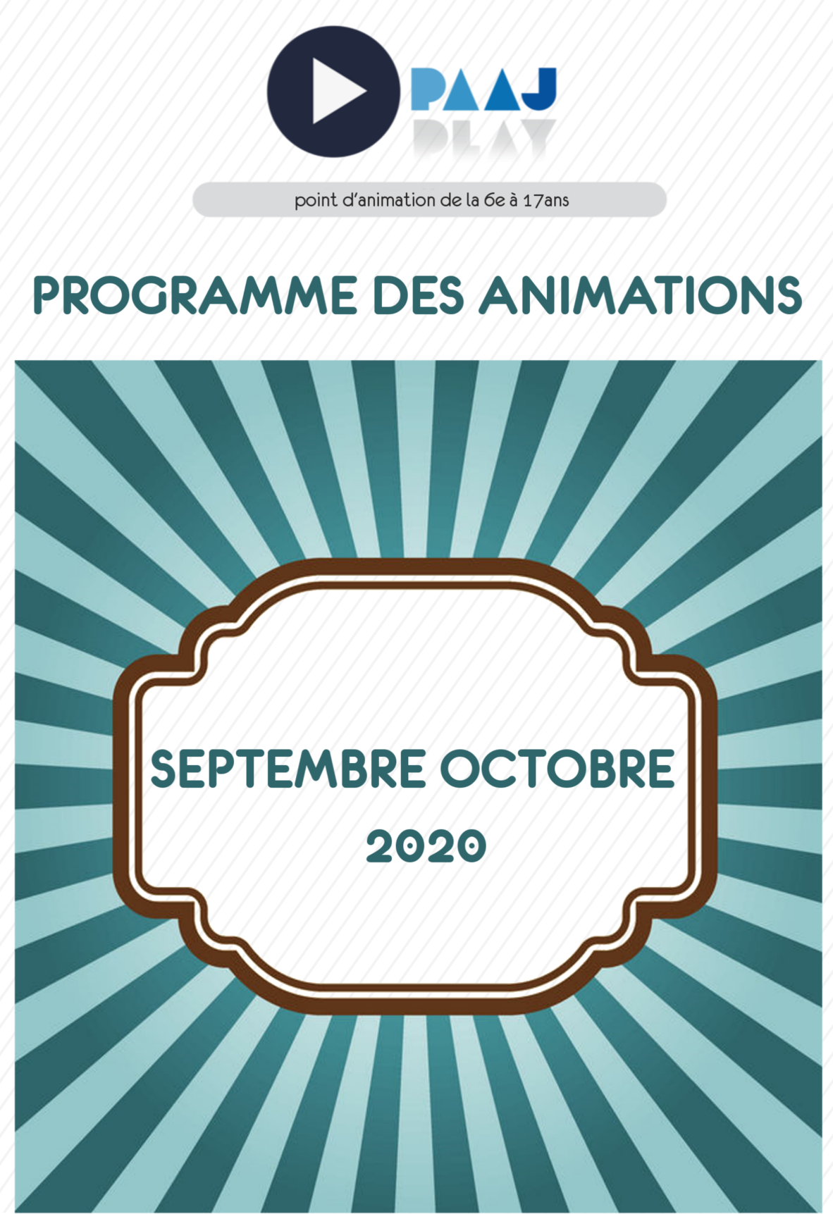 PAAJ : programme des animations septembre et octobre 2020