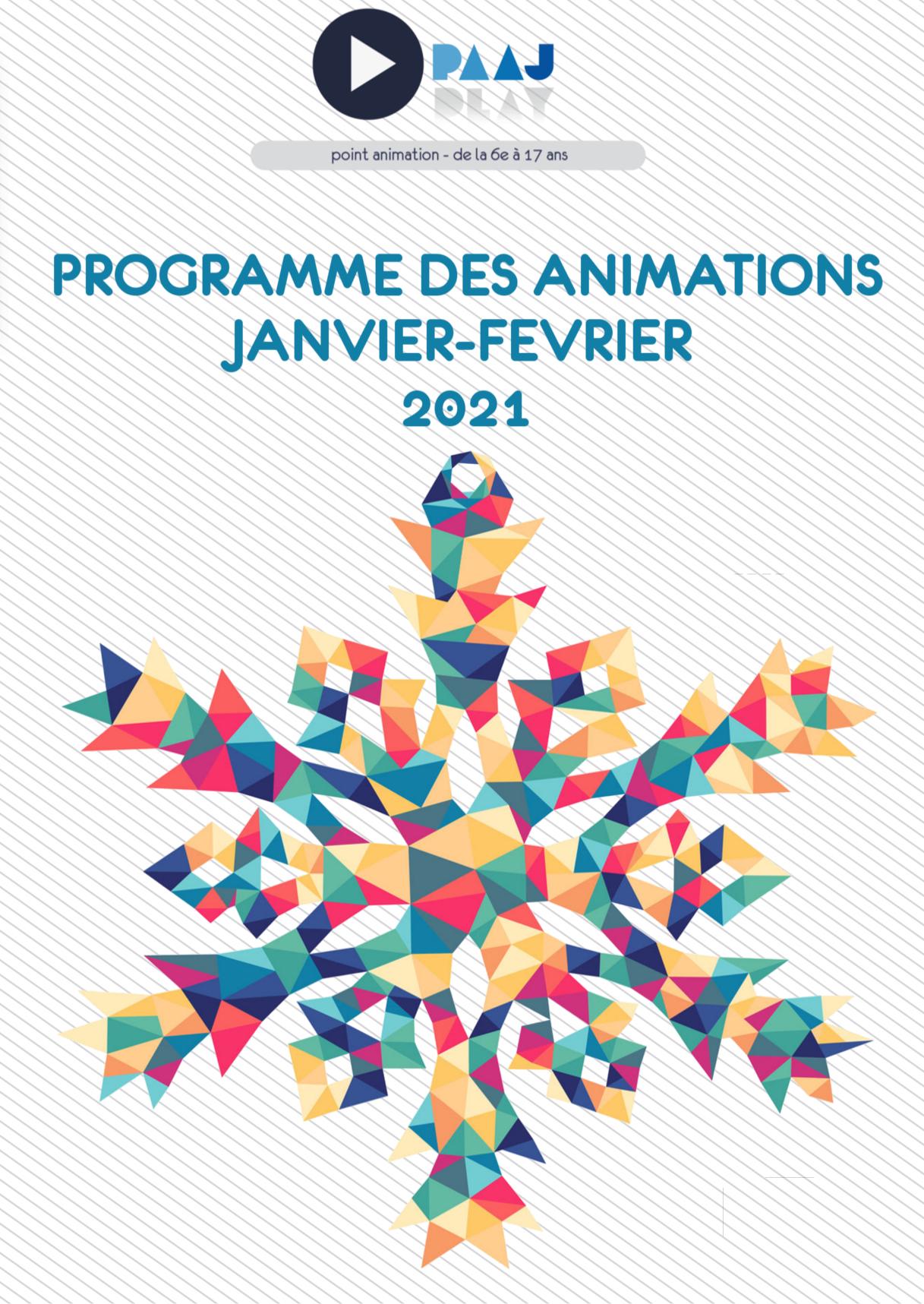 PAAJ – retrouvez le programme des animations de janvier-février 2021!